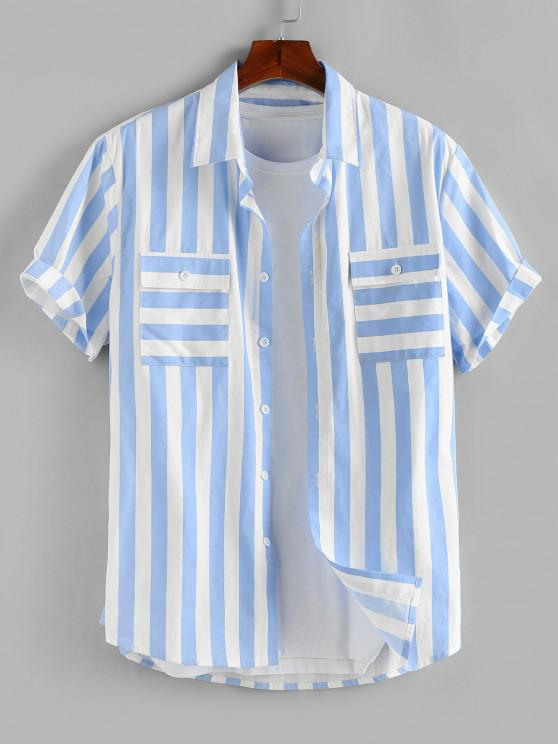 shops ZAFUL Stripe Print Double Pockets Shirt - LIGHT BLUE L