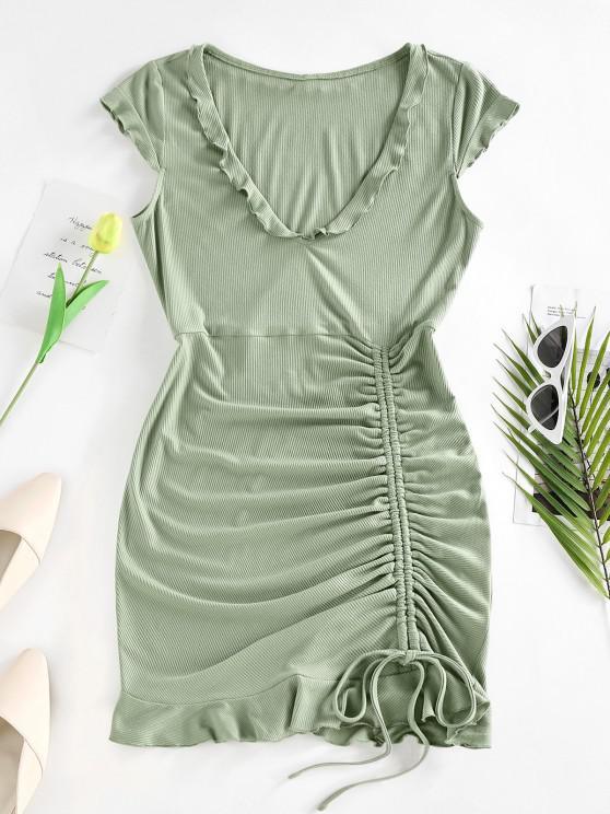 latest ZAFUL Ribbed Cinched Ruffle Cap Sleeve Dress - LIGHT GREEN M