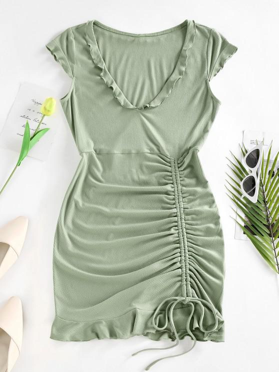 womens ZAFUL Ribbed Cinched Ruffle Cap Sleeve Dress - LIGHT GREEN L