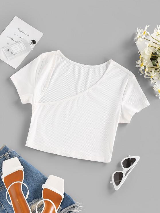sale ZAFUL Ribbed Asymmetrical Neck Crop T Shirt - WHITE S
