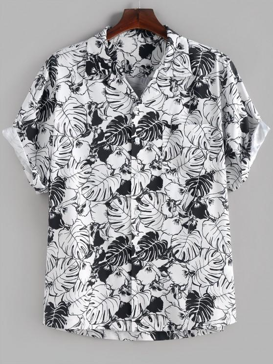 latest ZAFUL Palm Leaves Flower Print Monochrome Pocket Shirt - WHITE S
