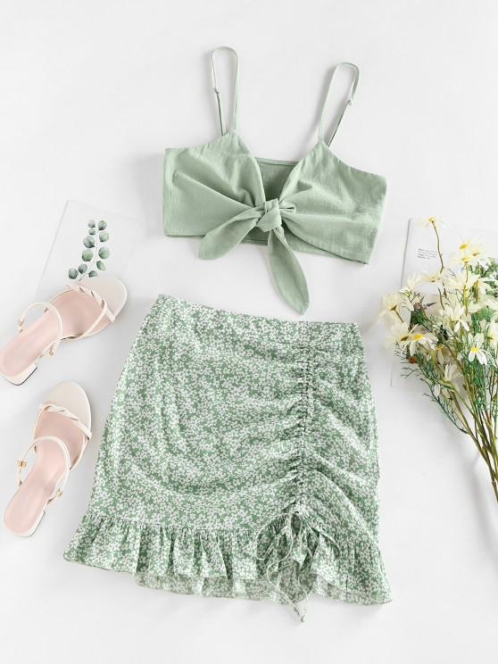 women's ZAFUL Ditsy Floral Cinched Ruffle Knot Two Piece Skirt Set - LIGHT GREEN L
