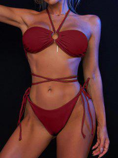 ZAFUL Maillot De Bain Bikini Côtelé Anneau En O à Jambe Haute - Rouge Foncé L
