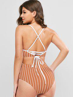 ZAFUL Pinstriped Lace-up One-piece Swimsuit - Rust M