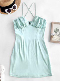 Criss Cross Ruched Satin Mini Dress - Light Green M