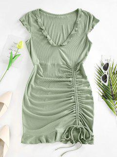 ZAFUL Ribbed Cinched Ruffle Cap Sleeve Dress - Light Green L