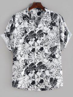ZAFUL Palm Leaves Flower Print Monochrome Pocket Shirt - White L