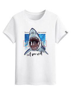 Help Me Shark Graphic Basic T-shirt - White Xs