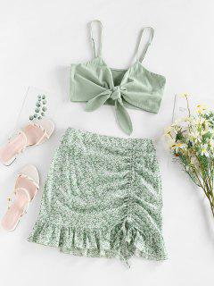 ZAFUL Ditsy Floral Cinched Ruffle Knot Two Piece Skirt Set - Light Green M