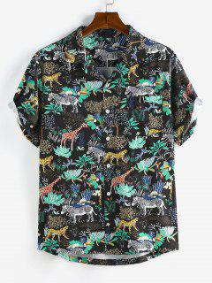 Camicia Di ZAFUL Con Tasca E Stampa Animali E Fiori - Nero S