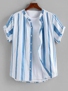 ZAFUL Vertical Striped Print Short Sleeve Shirt - Light Blue L