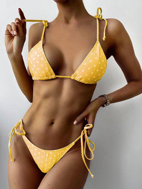 women's ZAFUL Polka Dot String Bikini Set - RUBBER DUCKY YELLOW S Mobile