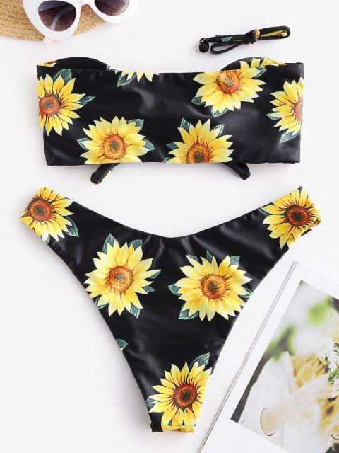 fancy ZAFUL Knot Sunflower Print Bikini Set - BLACK S Mobile