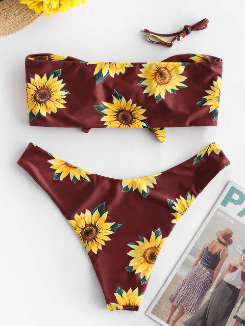 fancy ZAFUL Knot Sunflower Print Bikini Set - FIREBRICK M Mobile