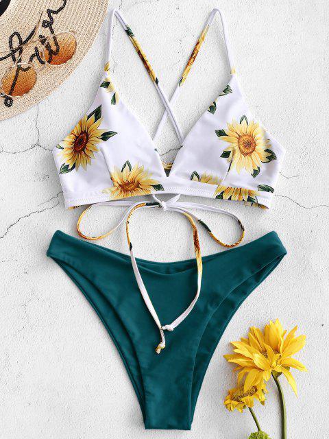 trendy ZAFUL Sunflower Criss Cross Bikini Set - GREENISH BLUE S Mobile