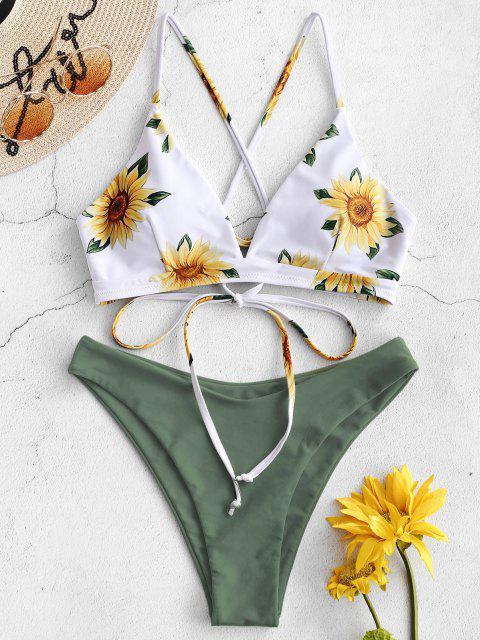 women's ZAFUL Sunflower Criss Cross Bikini Set - CAMOUFLAGE GREEN M Mobile