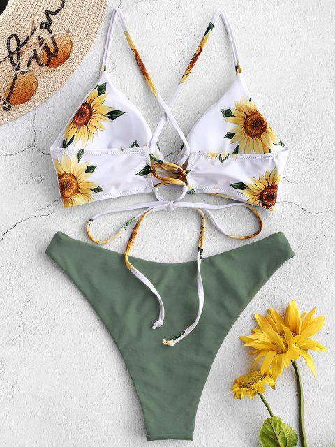 ZAFUL Ensemble de Bikini Croisé Tournesol - Vert Camouflage L Mobile