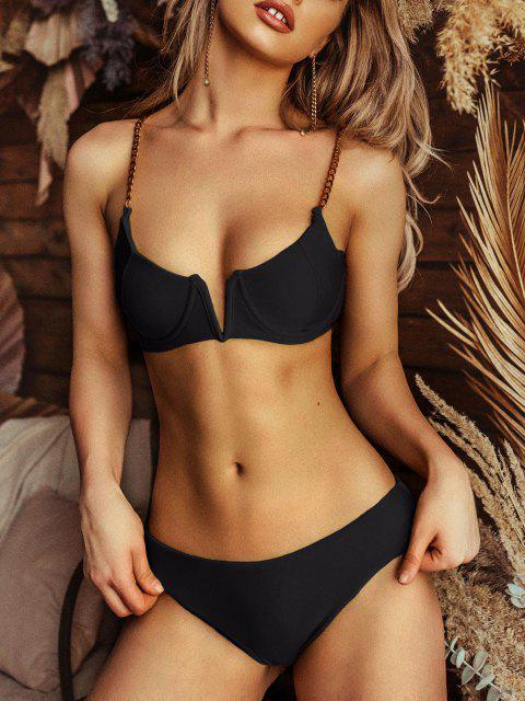 outfit ZAFUL Chain Straps V Wired High Leg Bikini Swimsuit - BLACK S Mobile