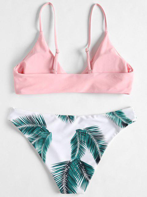online ZAFUL Floral Leaf Print Bikini Set - LIGHT PINK XL Mobile