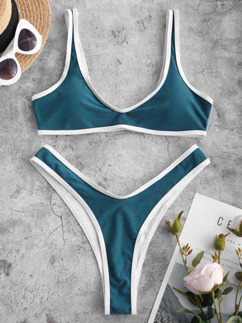 Kontrast Trim Sport Bikini Set - Dunkelgrün S Mobile