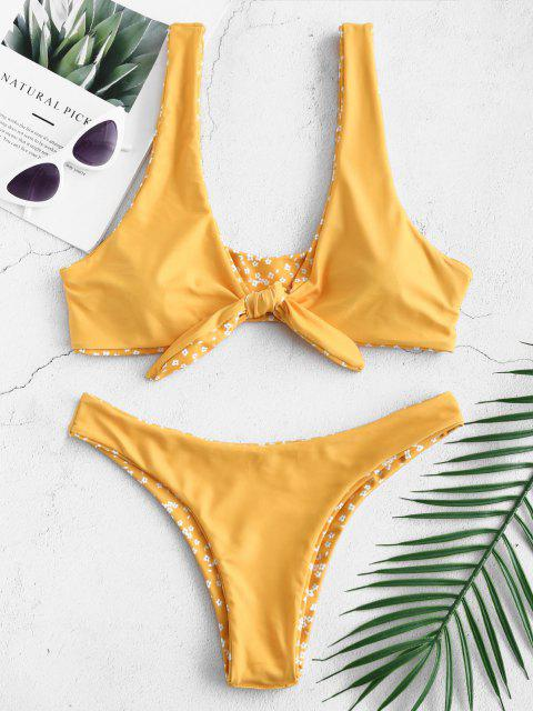 Bikini con Nudo De Cintura Baja Floral - Azafrán M Mobile