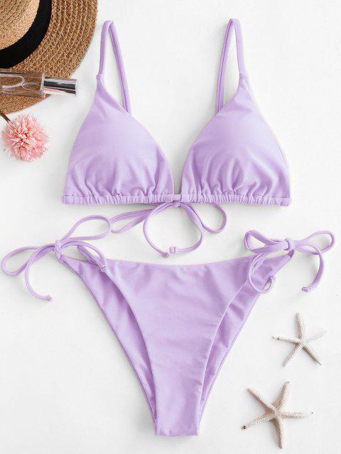 outfits ZAFUL Tie String Bikini Swimsuit - LIGHT PURPLE M Mobile
