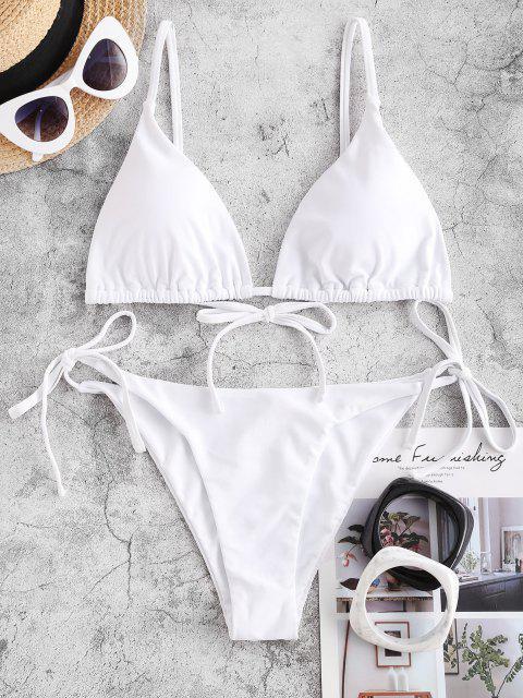 unique ZAFUL Tie String Bikini Swimsuit - WHITE M Mobile