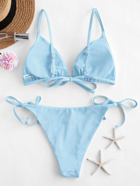 hot ZAFUL Tie String Bikini Swimsuit - LIGHT BLUE M Mobile