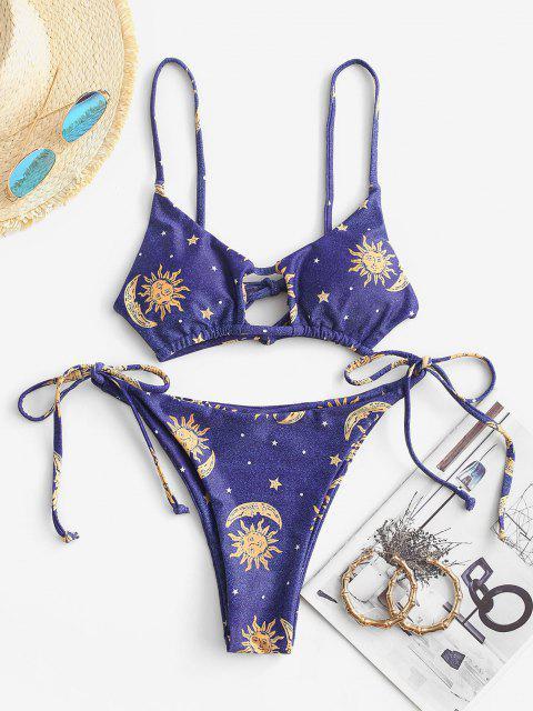 ZAFUL Bikini Recortado con Estampado de Estrella y Luna - Azul Profundo M Mobile