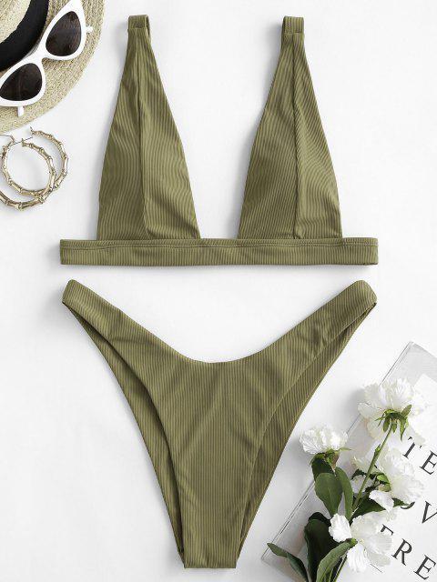 Costume da Bagno Bikini a Costine con Scollo Profondo di ZAFUL a Taglio Alto - Verde Bruno Chiaro S Mobile