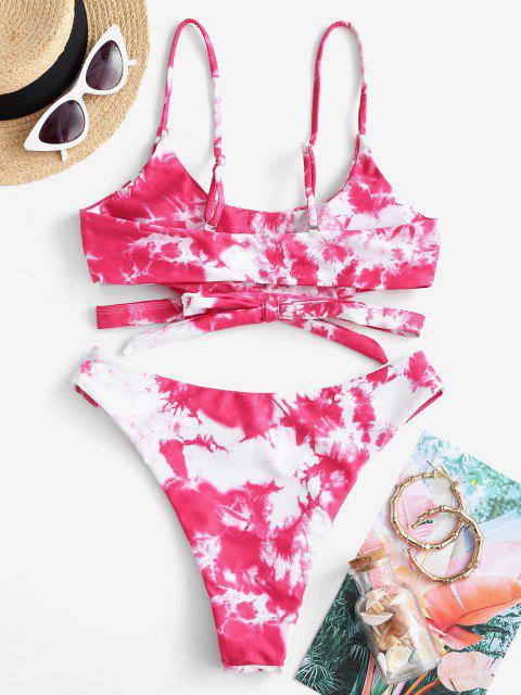ZAFUL Bikini Bralette Recortado de Tie Dye - Rojo S Mobile