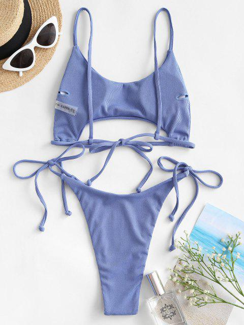 buy ZAFUL Ribbed Underboob Tie Side Thong Bikini Swimwear - SKY BLUE S Mobile