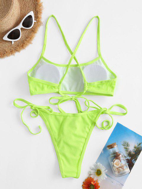 ZAFUL Costume da Bagno Bikini a Righe con Nodo - Verde S Mobile