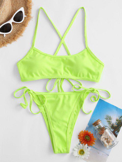 ZAFUL Costume da Bagno Bikini a Righe con Nodo - Verde L Mobile