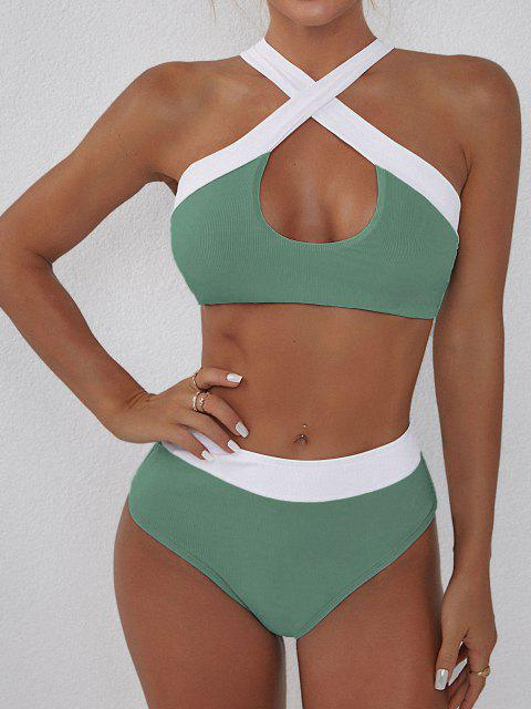 ZAFUL Bikini Fruncido de Dos Colores Acanalado - Verde de Mar  M Mobile