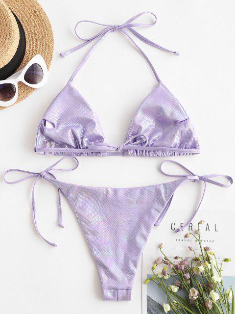 chic ZAFUL Snakeskin Metallic Halter String Bikini Swimwear - PURPLE M Mobile