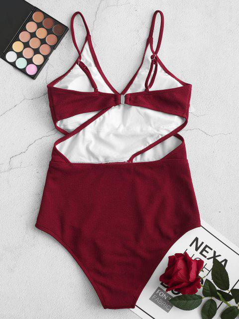 buy ZAFUL Ribbed Cutout Cami One-piece Swimsuit - RED WINE S Mobile