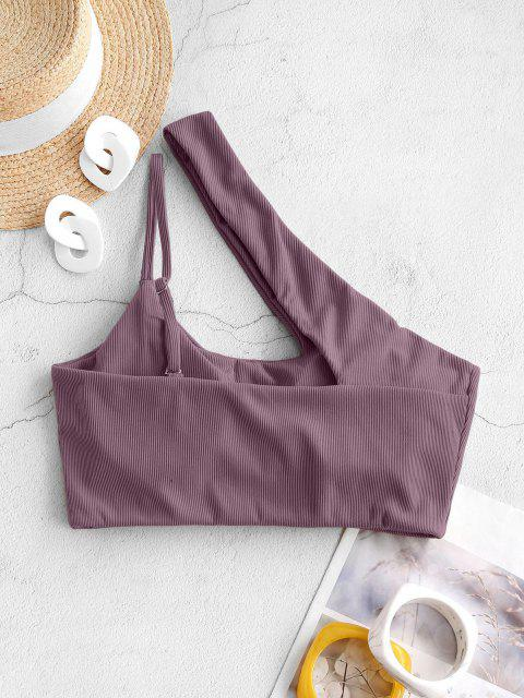 trendy ZAFUL Ribbed One Shoulder Cropped Cutout Bikini Top - CONCORD M Mobile