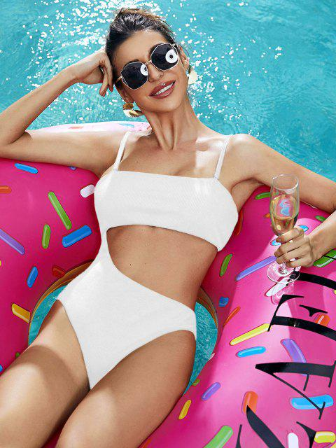 womens ZAFUL Ribbed Cutout High Cut One-piece Swimsuit - WHITE L Mobile