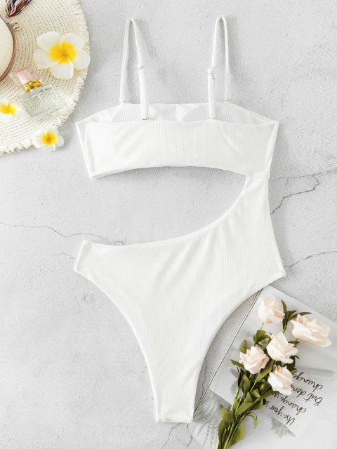 buy ZAFUL Ribbed Cutout High Cut One-piece Swimsuit - WHITE M Mobile