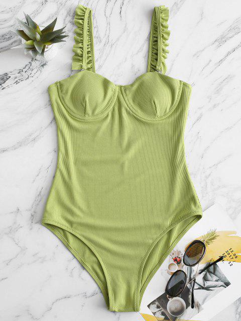 fashion ZAFUL Underwire Lettuce Trim Ribbed One-piece Swimsuit - LIGHT GREEN L Mobile