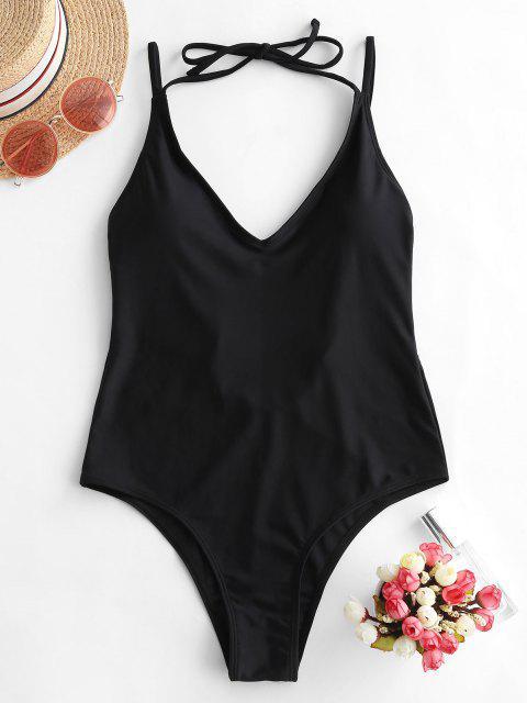 ZAFUL الرسن السامي قص فتح العودة من قطعة واحدة ملابس السباحة - أسود L Mobile