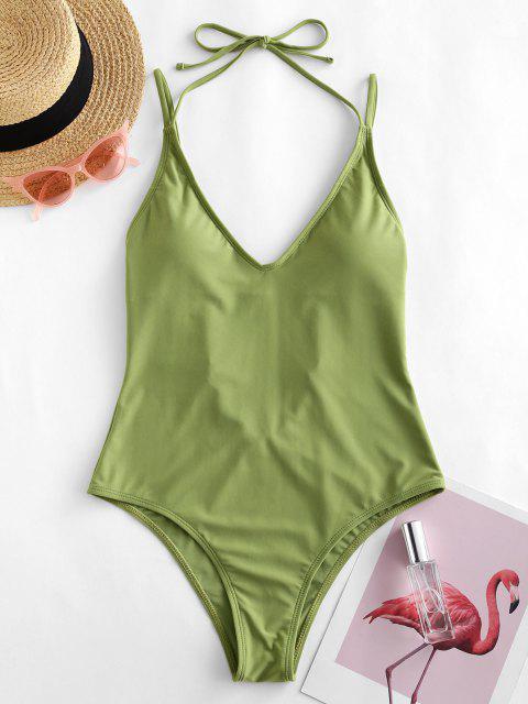 ZAFUL الرسن السامي قص فتح العودة من قطعة واحدة ملابس السباحة - اخضر فاتح S Mobile