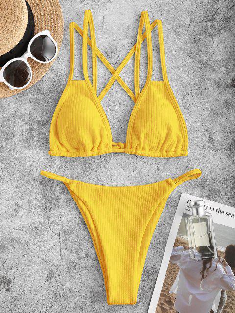 Costume da Bagno Bikini Incrociato a Costine di ZAFUL - Giallo S Mobile