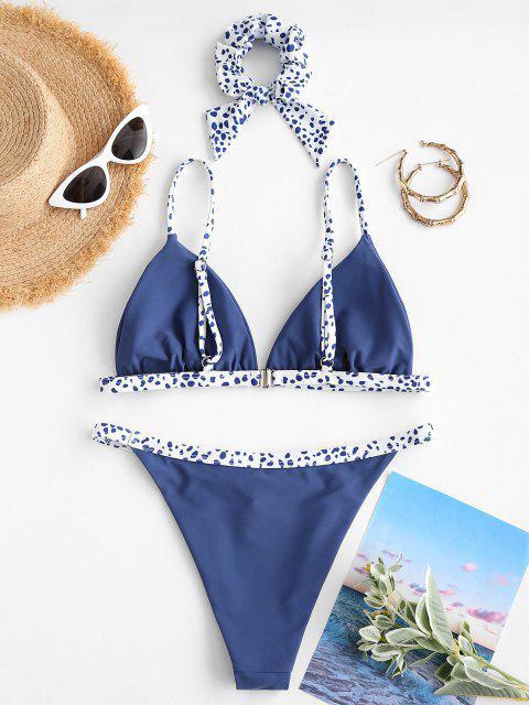 ZAFUL Costume da Bagno Bikini a Incrocio con Fiocco Leopardata - Blu M Mobile