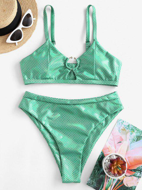 womens ZAFUL Metallic Scale Print Ring High Cut Bikini Swimwear - GREEN L Mobile