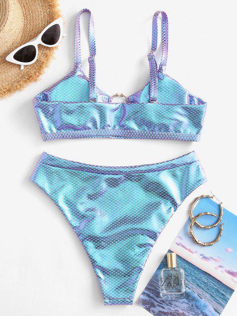 women ZAFUL Metallic Scale Print Ring High Cut Bikini Swimwear - BLUE M Mobile