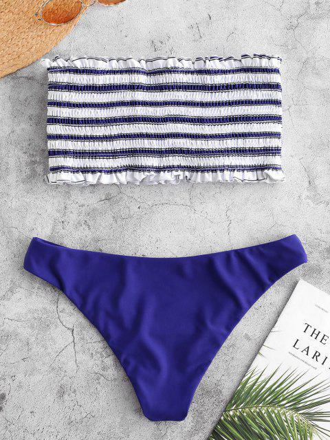ZAFUL   Gestreiftes Bandeau-Bikini-Set mit Streifenmuster - Kobaltblau L Mobile