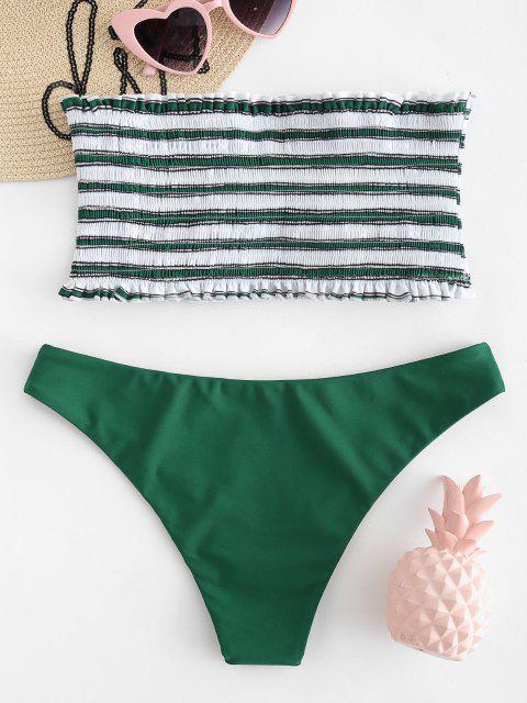 best ZAFUL Stripe Smocked Bandeau Bikini Set - MEDIUM SEA GREEN M Mobile