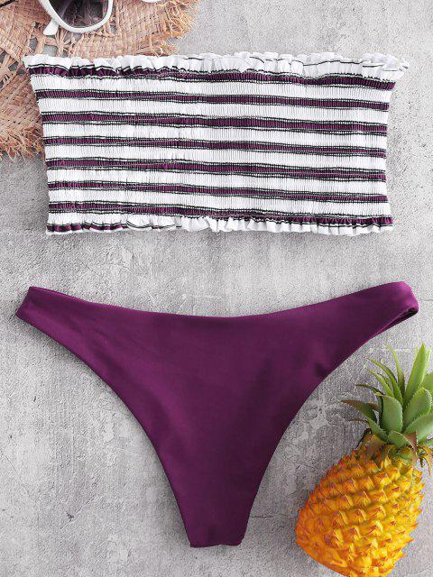 lady ZAFUL Stripe Smocked Bandeau Bikini Set - DARK CARNATION PINK L Mobile